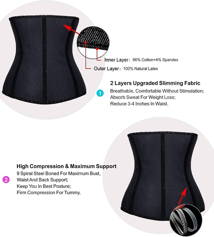 YIANNA Waist Trainer for Women Underbust Latex Sport Girdle Corsets Cincher Hourglass Body Shaper