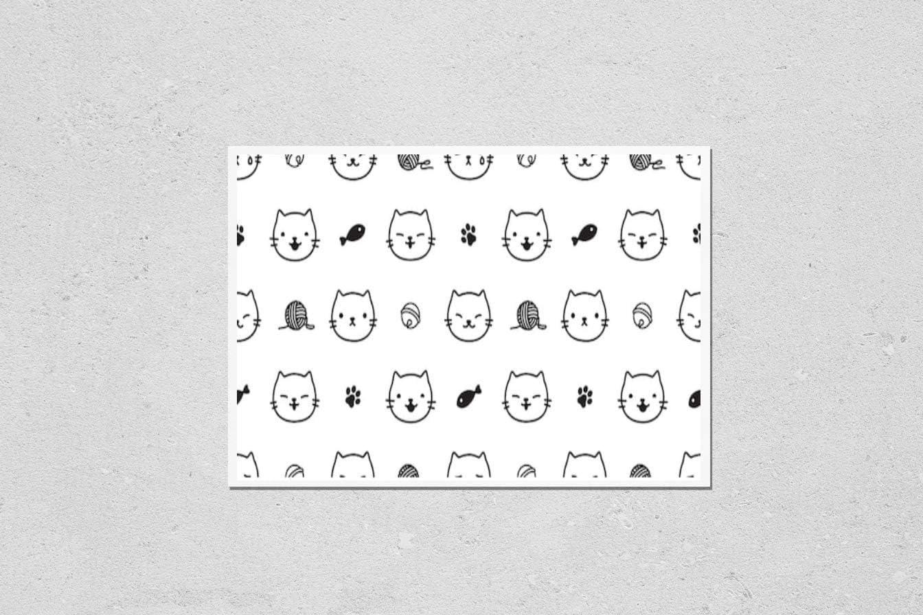 KwikMedia Poster Easy-to-use Reproduction of Regular dealer cat Kitten Pattern Seamless paw