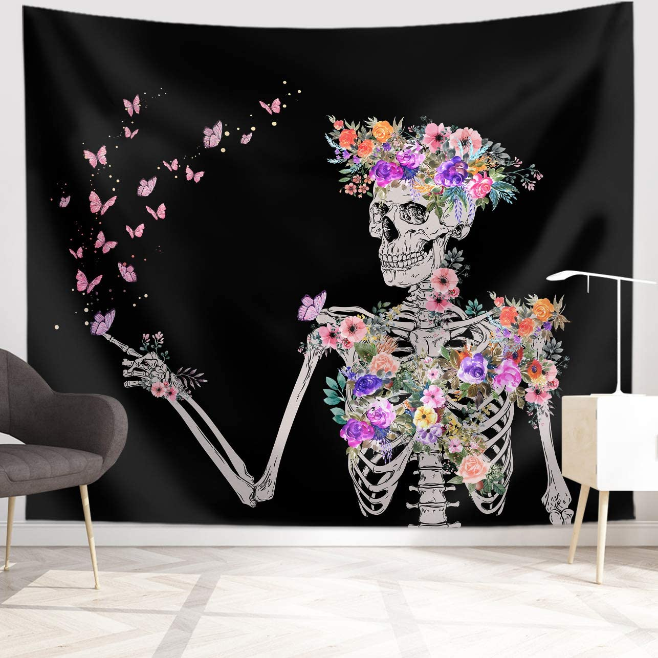 Skull Tapestry Minneapolis Mall Floral Butterfly Hanging Wate Max 49% OFF Wall