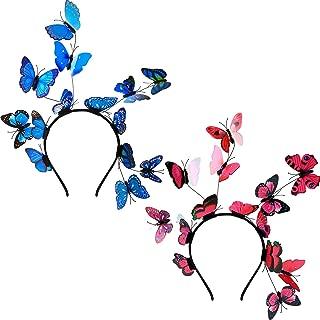 2 Pieces Butterfly Fascinator 1980s Butterfly Headband Festival Crown Headpiece Butterfly Hairbands for Women Halloween