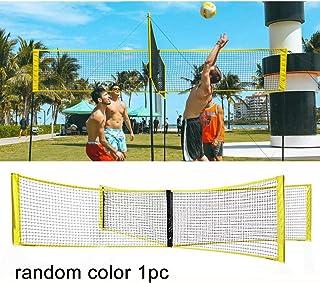 Apofly 4-Sided Cross Volleyball Net Standard 4 Way Volleyball Net Systems Portable Pool Volleyball Standard Net for Outdoor Beach Park Sand Grass (Random Color)