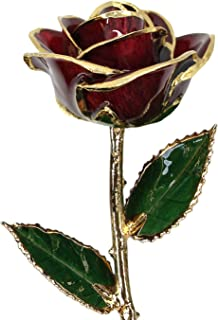 Allmygold Jewelers Burgundy 24k Gold Dipped Real Rose