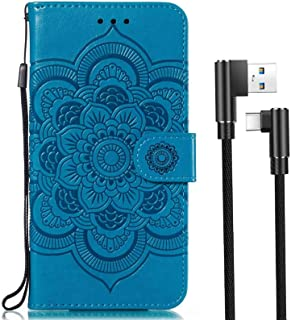 case for Motorola Moto E5 Play/Moto E5 Go case,PU Leather Body Protection Wallet,Credit Card Holder + 1 Pack(Type-c) Double Elbow Data Cable,Shock Absorber Bumper Shell,Scratch Resistant,Blue