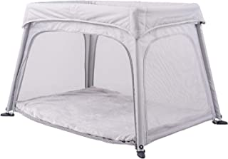 Portable, Lightweight Playpen & Travel Crib with Comfortable Mattress (Grey)