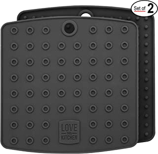 Premium Silicone Trivet & Pot Holders. Our Versatile Silicon Hot Pads Work as Large Coasters, Jar Opener Gripper Pad & Spoon Rests. Trivets are Flexible & Heat Resistant to 442 F (7x7 in, Gray,1 Pair)