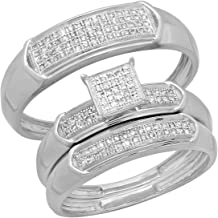 Dazzlingrock Collection 0.30 Carat (ctw) Round White Diamond Men's and Women's Engagement Ring Trio Set 1/3 CT, Sterling Silver