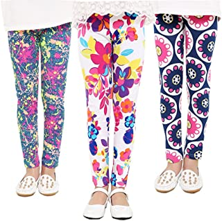 FIOKASO Girls Leggings, 3 Packs Toddler Girls Pants Great Stretch Printing Flower for Kids
