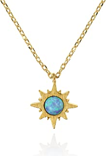 Sunburst Opal Pendant Necklace. Dainty Brushed Finish 14 Carat Gold Plated Sun Jewelry Necklace with a Created Opal. Nickel Free and Lead Free Necklace with Mini Sunburst Pendant.