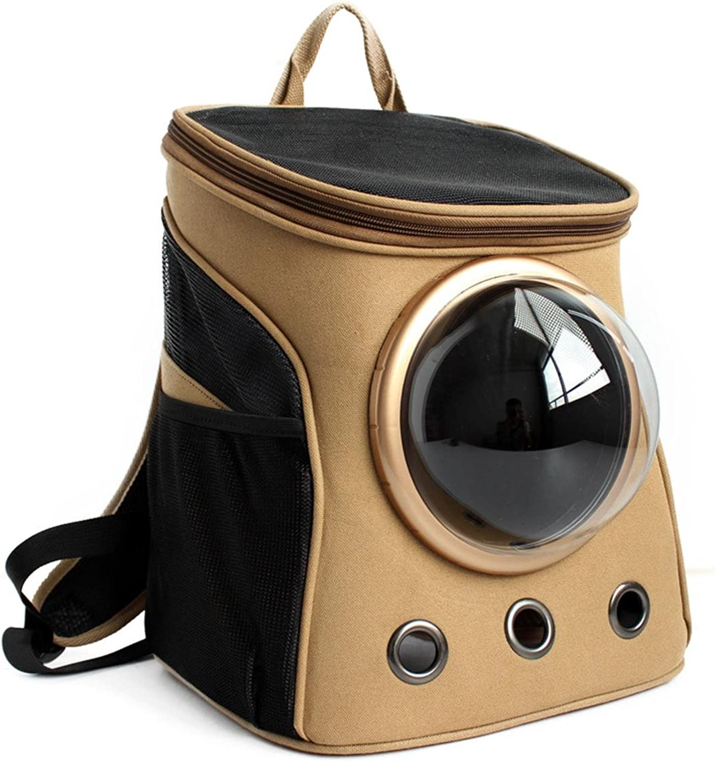 CHONGWU Canvas space capsule pet backpack Transparent Breathable Shoulders Go out Portable Small cat package Pet products