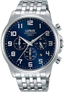 RT335GX9 - Lorus Men's, Quartz, 100m Water Resistant, Chronograph, Stainless Steel, Silver with Blue Dial
