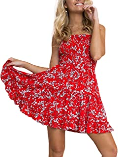 d4118aba70f Imagine Women s Summer Dress Strapless Floral Print Bohemian Casual Beach  Dress Cover Ups for Swimwear Women