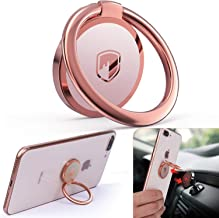 Phone Ring Holder Finger Kickstand - FITFORT 360° Rotation Metal Ring Grip for Magnetic Car Mount Compatible with All Smartphone-Rose Gold