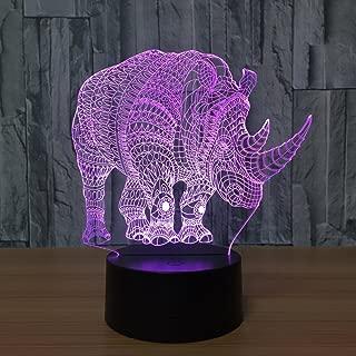 Rhinoceros Modeling 3D Led 7 Color Remote Control Night Light Bedroom Bedside Night Light Decoration Table Lamp Sleep Lamp Halloween Couple Birthday Christmas Gift