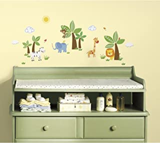 RoomMates RMK2635SCS, Repositionable Jungle Friends Wall Stickers, Multi
