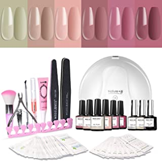 Modelones Gel Nail Polish Kit with UV Light - 6 Popular Nude Colors Matte Top Coat, Base Top Coat, 24W Nail Lamp, Upgraded Manicure Tools in Storage Bag
