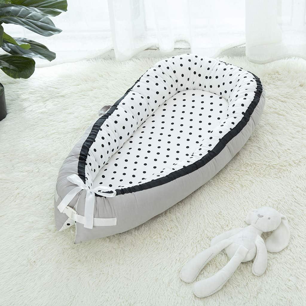 FLAMEER Réducteur de Lit Bébé Diminution de Lit pour Bébé 92x55x9cm - Crown_White Dot_black