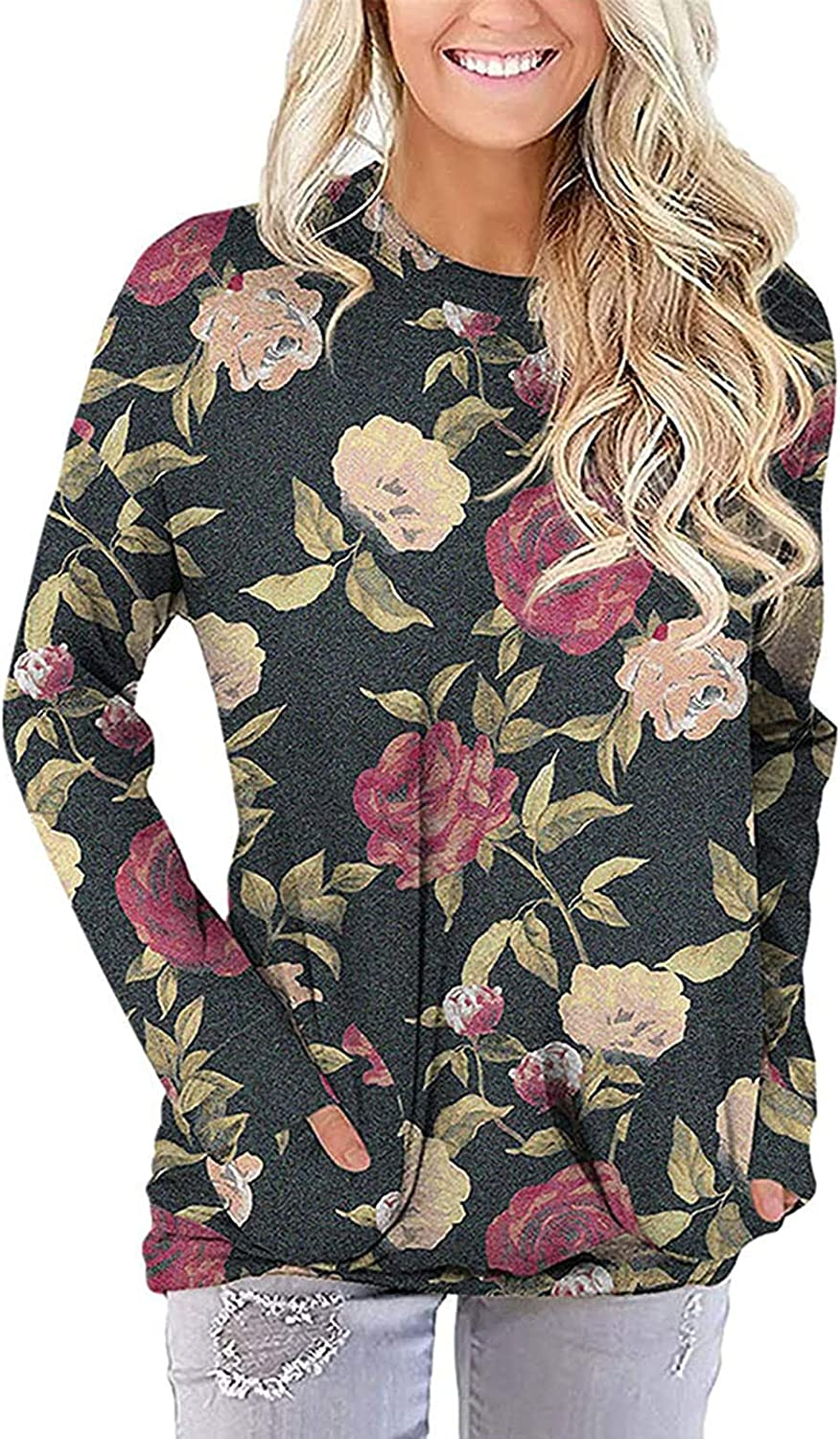 Women Long Sleeve Flower Print O-Neck Loose Pullover Tops Pockets Decorative Autumn Fashion Blouses Casual Tops