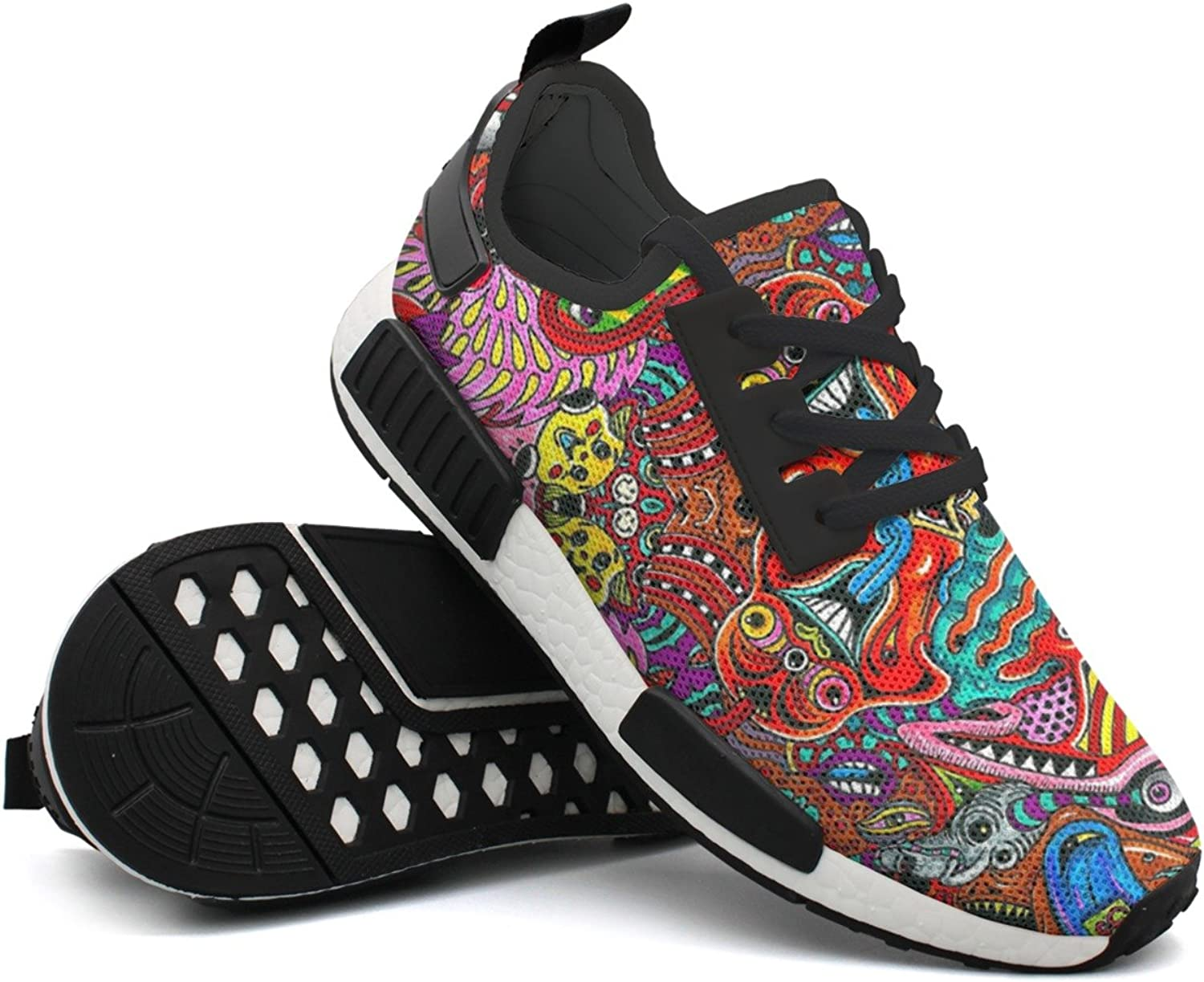 Abstract Art Set Woman's Gift Navy Sports Running shoes Net Mens
