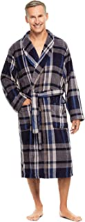 Haggar Men's Plaid Fleece Robe - Dressing Gown With Adjustable Belt