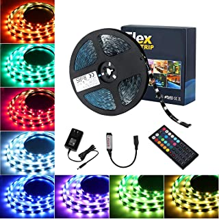 Tingkam 39.4 ft 12 M Non-Waterproof 5050 SMD RGB LED Flexible Strip Light Black PCB Board Color Changing Decoration Lighting 300 LEDs Kit + 20 Key Remote Controller