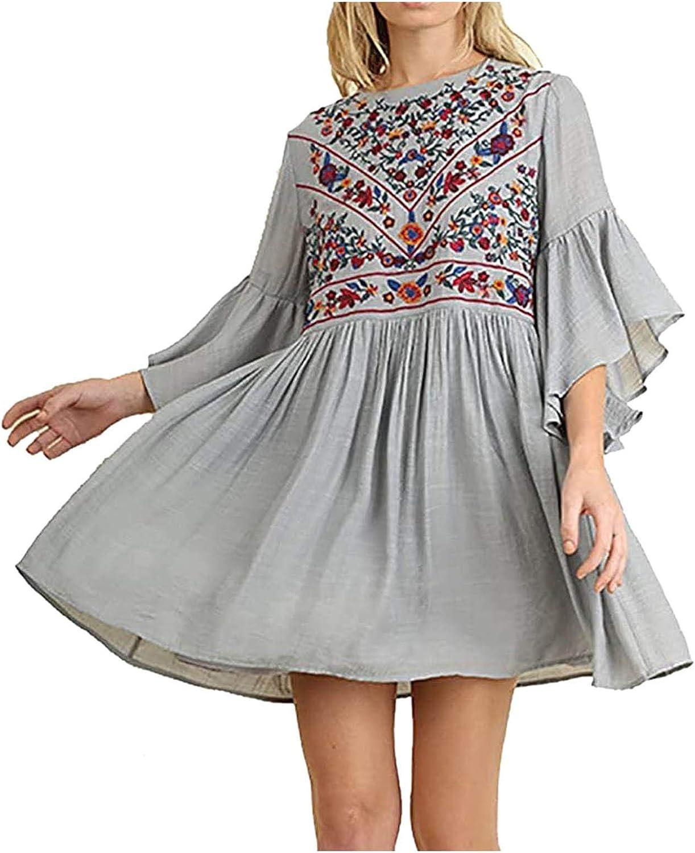 Women's Spring Summer Dress Boho Casual Loose Flowy Ruffle Half Sleeve Embroidery Floral Mini Dress