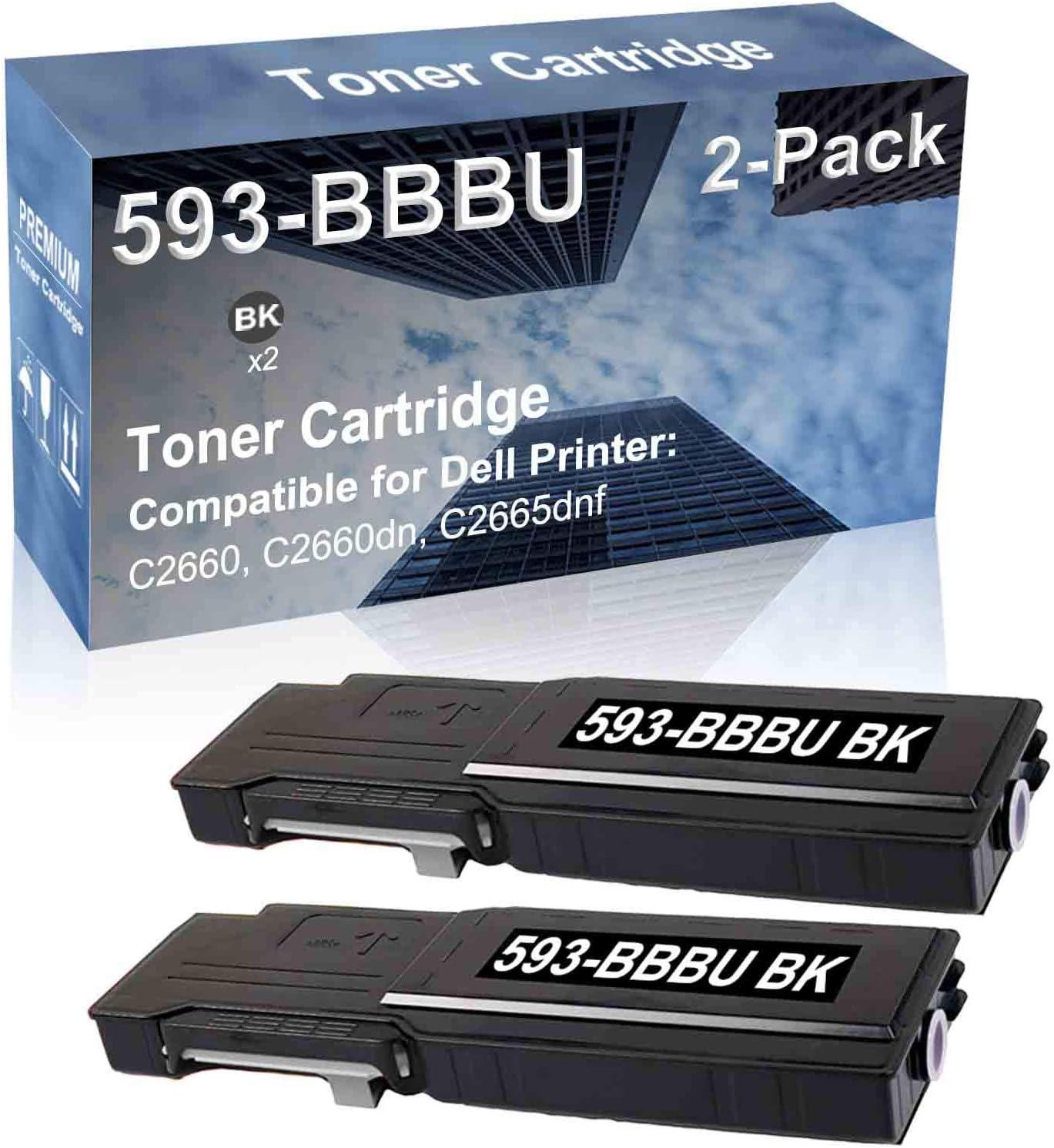 2-Pack (Black) Compatible C2660, C2660dn, C2665dnf Printer Toner Cartridge High Capacity Replacement for Dell 593-BBBU Toner Cartridge