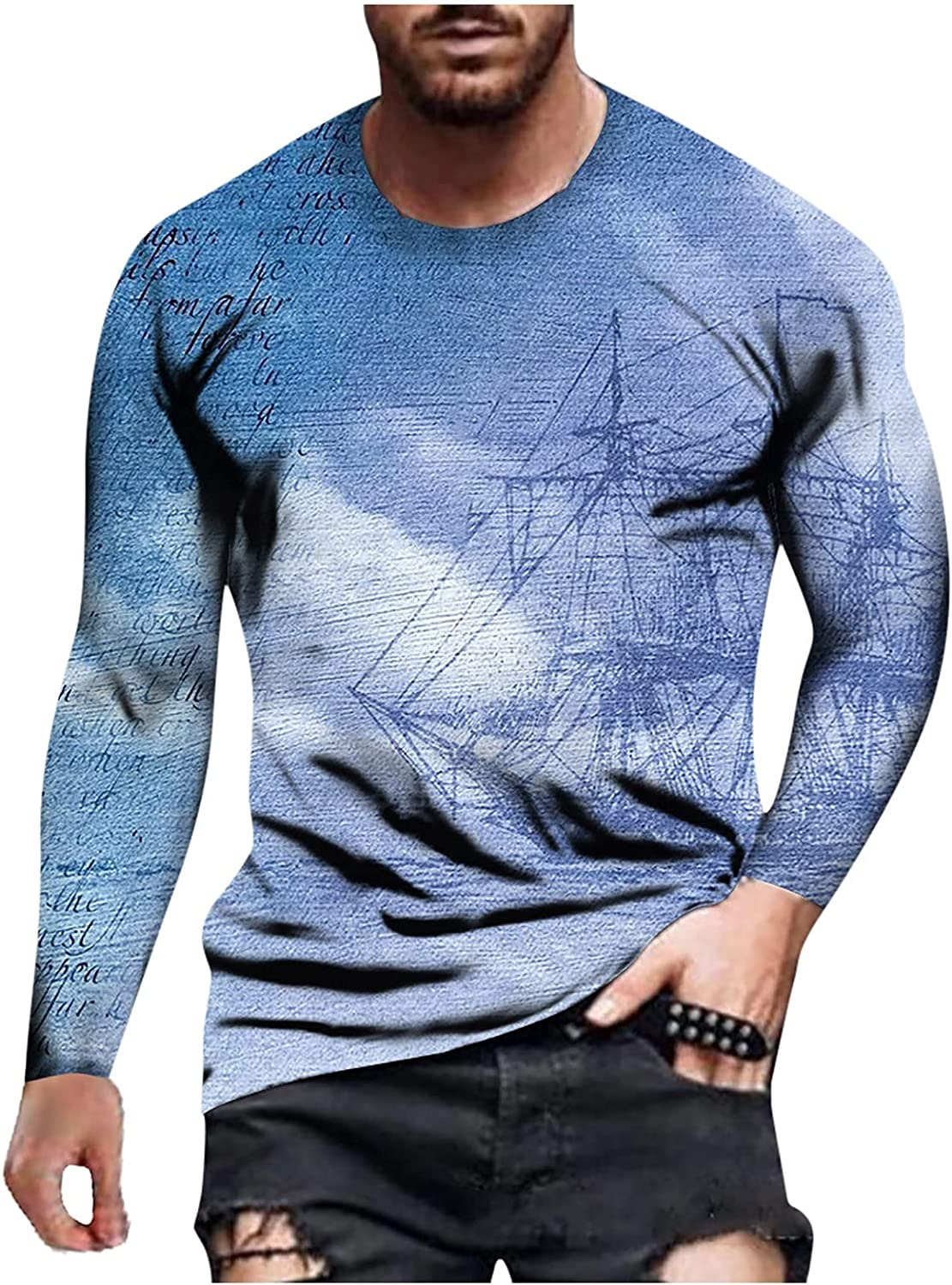 LEIYAN Mens Muscle Workout T Shirt Casual Long Sleeve Printed Stylish Bodybuilding Athletic Gym Cotton Tee Shirt Top