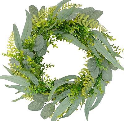 Bibelot Eucalyptus and Silk Leaves Wreath, 18 Inch Artificial Wreath on a Natural Twig Base for Front Door,Farmhouse, Garden, Wedding, Decor
