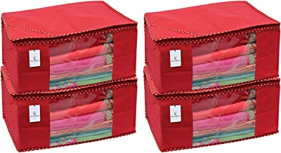 Kuber Industries 4 Piece Non Woven Saree Cover Set, Red,Large Size -CTKTC6434