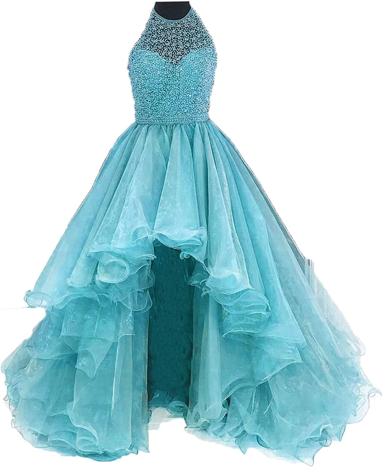Siaoryne A Line Halter Beading Prom Dresses High Low for Juniors Corset Back bluee 18W