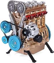 Yamix Full Metal Engine Model Desk Stirling Engine, Unassembled 4 Cylinder Inline Car Engine Model Building Kit Mini DIY Engine Model Toy for Adults