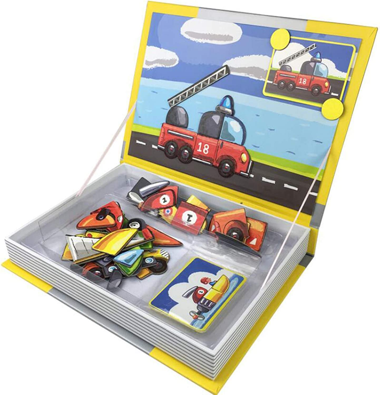 Baby Magnetic Jigsaw Puzzles Educational Wooden Toy for Kids Magnetic Drawing Board,Transportation