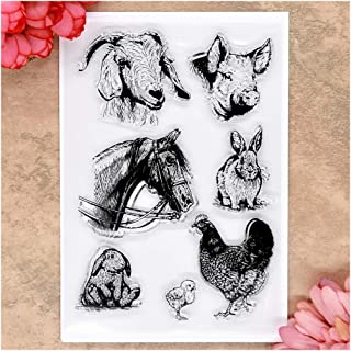Kwan Crafts Animal Sheep Pig Horse Rabbit Chicken Clear Stamps for Card Making Decoration and DIY Scrapbooking
