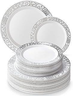 Silver Spoons VAJILLA PARA FIESTAS DESECHABLE DE 40 PIEZAS | 20 platos grandes | 20 platos para ensalada | Platos de plástico resistente | Elegante aspecto de porcelana fina (Venetian – Plata)