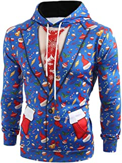 Ugly Sweater Men Christmas Suit Pattern 3D Print Long Sleeve Hoodie Crew Neck Sweater Caps Sweatshirt Pullover
