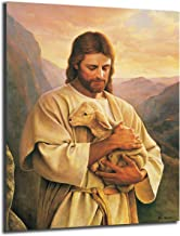 FireDeer God Christ Jesus Lamb Poster Buen Pastor The Good Shepherd Canvas Prints Picture Modular Paintings For Living Room Poster On The Wall Home Decor (With Frame,12x16 inch)