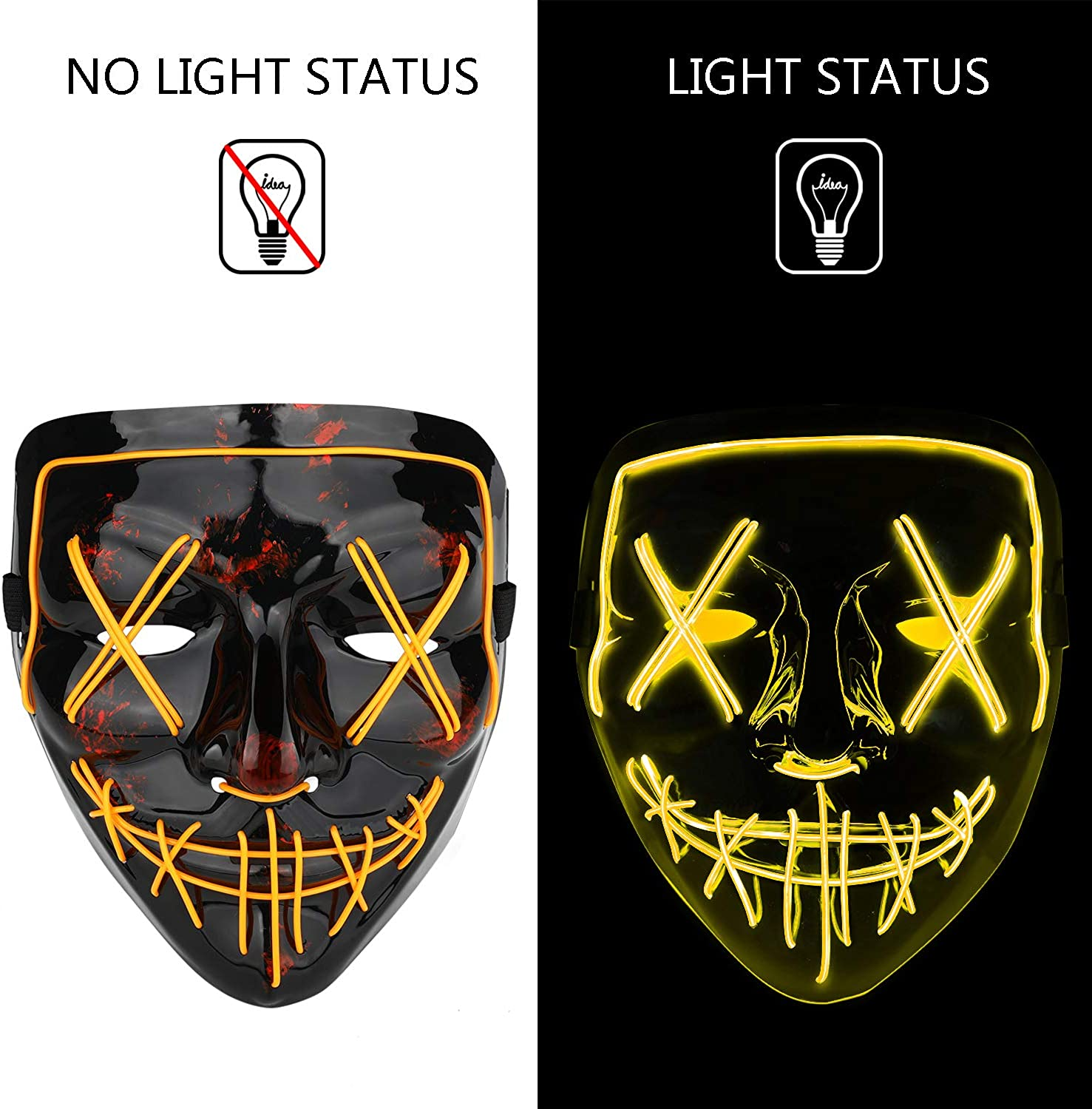 Poptrend Halloween Mask LED Light up Mask Scary mask for Festival Cosplay Halloween Costume Masquerade Parties,Carnival,Gift