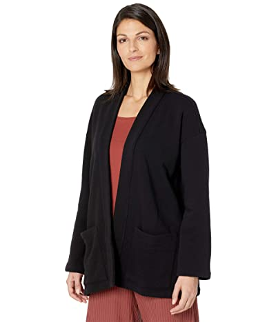 Eileen Fisher Organic Cotton French Terry High Collar Jacket (Black) Women