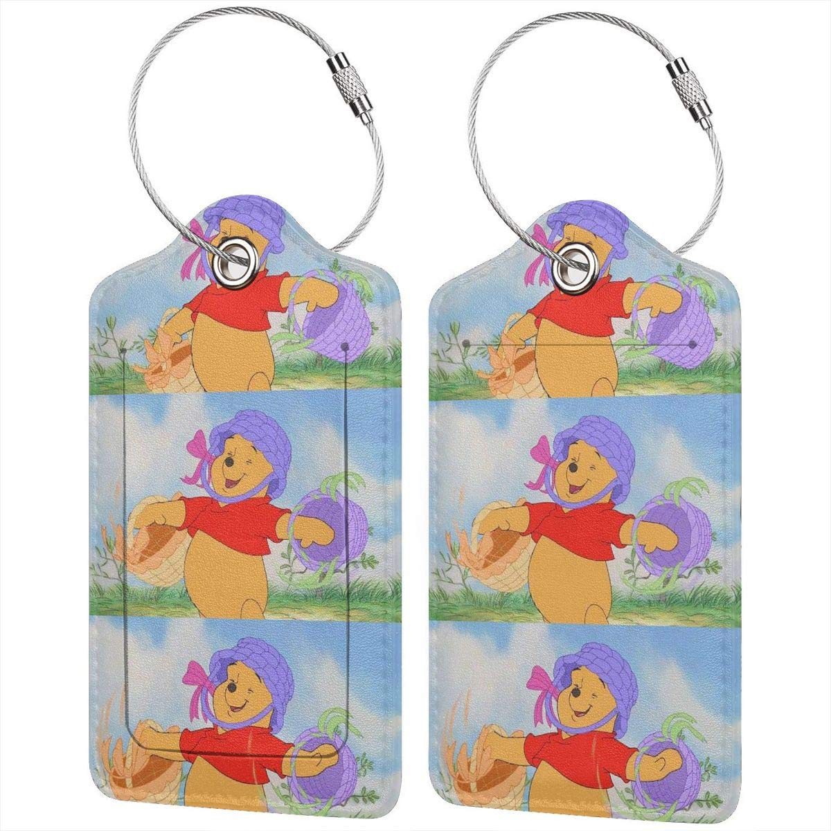 Fashion Colorful Mickey Mouse Soft Leather Luggage Tags With Privacy Cover 1-4 Pcs Choose Suit For Travel,Vacation