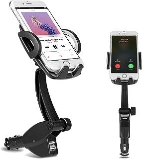 DELAM 車載ホルダー オートホールド式 シガーソケット付き携帯スタンド USBポートx2 スマホホルダー 360度回転可能 出力5V3A GPSスタンド iphone/Sony Xperia/Samsung Galaxy/Huawei/ASUS zenfone/Google Nexus/HTCスマートフォン対応 ブラック+グレー