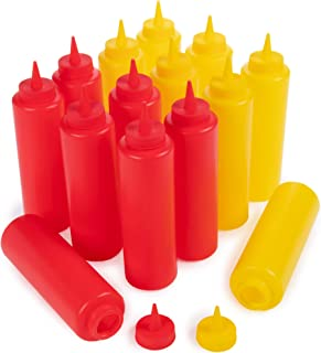 Ketchup and Mustard Squeeze Bottle Value Combo Pack   14-pack, 16-oz Plastic Kitchen Table Condiment Squirt Dispenser Bundle   Restaurant Supplies for Food Truck, Grilling, Dressing, BBQ Sauce, Crafts