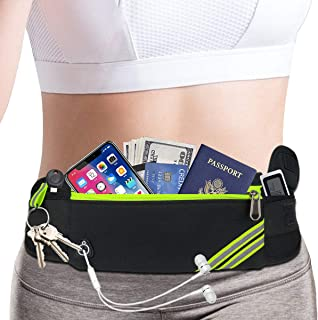 AIKENDO Running Pouch Belt Waist Pack Bag,Workout Gym Fanny Pack,Bounce Free Jogging Pocket Belt –Travelling Money Cell Phone Holder for Running Accessories for iPhoneXS Max,XR,iPhone 8 7 Plus Note 9