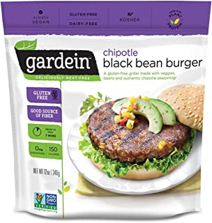 Gardein Chipotle Black Bean Burger Meatless Protein Packed Patties, Gluten Free, Ready in 8 Minutes, Non-GMO Project Verified, 4 Pack (Frozen)
