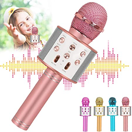 Newbrights Karaoke Wireless Bluetooth Microphone for Kids,Popular Birthday Gifts for 7 8 9 10 Year Old Girl Boys,Hot Toys for Girls Age 3-16 Years Old (Rose Gold)