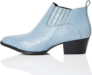 Marca Amazon - find. Croc Embellished Leather - Botines Mujer