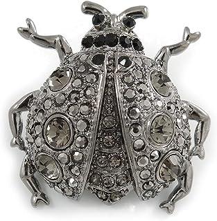 دبوس Avalaya Black Crystal Ladybug (بلون فضي)