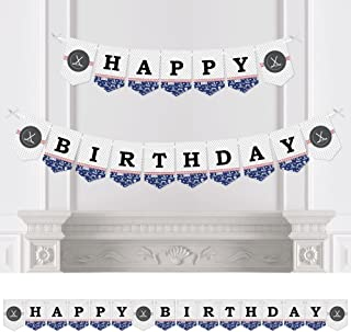 Big Dot of Happiness Shoots and Scores - Hockey - Birthday Party Bunting Banner - Sports Party Decorations - Happy Birthday