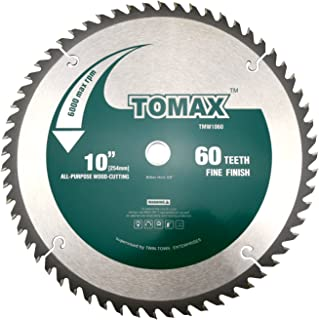 TOMAX 10-Inch 60 Tooth ATB Fine Finish Saw Blade with 5/8-Inch Arbor