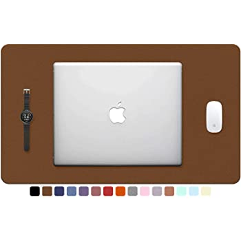 """TOWWI PU Leather Desk Pad with Suede Base, Multi-Color Non-Slip Mouse Pad, 24"""" x 14"""" Waterproof Desk Writing Mat, Large Desk Blotter Protector (Brown)"""
