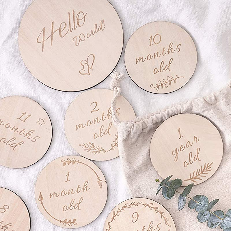 HAN MM Baby Monthly Milestone Wooden Card Double Sided Discs Milestone Stickers Blocks Milestones Set Of 13 Includes 12 Cards 4 1 Inch And 1 Customizable Birth Card 5 7 Inch With Drawstring Bag